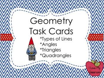Geometry Task Cards - Lines, Angles, Triangles, Quadrangle