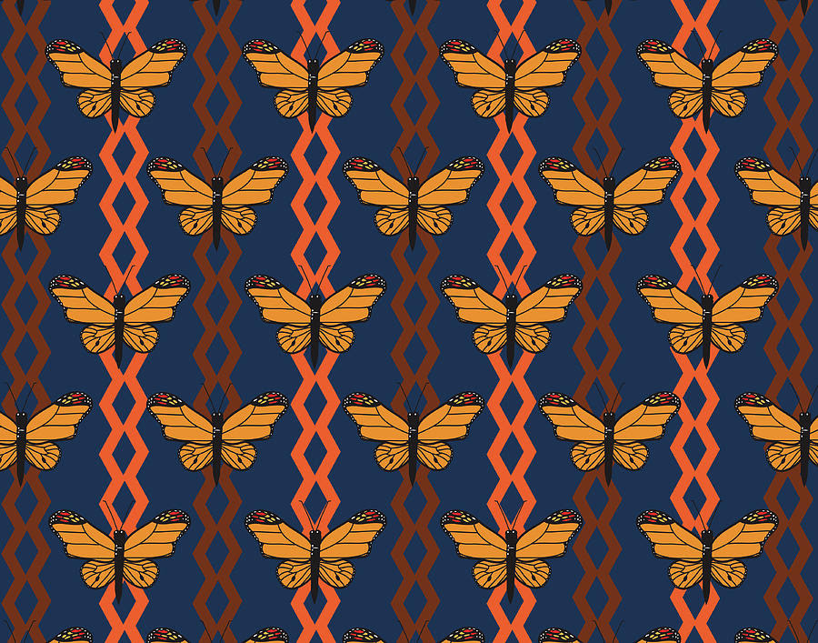 Monarch Butterfly Pattern With Brown And Orange Zigzag ...