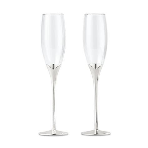 Silver Tulip Stem Champagne Flutes; Glasses   Weddingstar