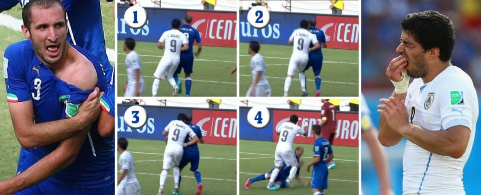 Sequence of events: Footage of the clash (above) appeared to show Uruguay's Luis Suarez leaning in to bite the shoulder of Italian defender Giorgio Chiellini during a crucial World Cup clash in Natal, Brazil