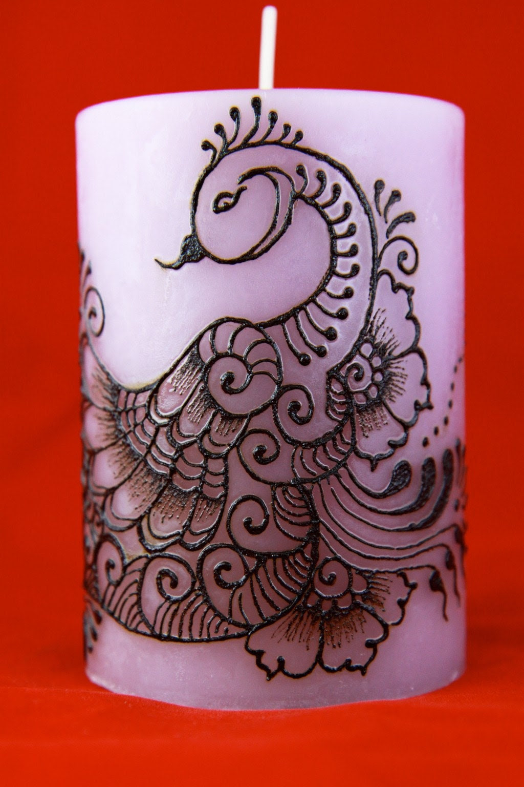 Peacock on Henna Candle - Handmade - Lavendar