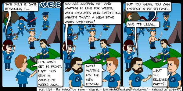 [fedora webcomic: queue]