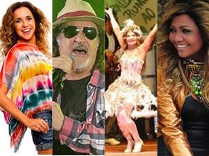 Daniela Mercury, Alceu Valença, Elba Ramalho e Gaby Amarantos são algumas das atrações do Carnaval 2013 em João Pessoa (Foto: Arte/G1)