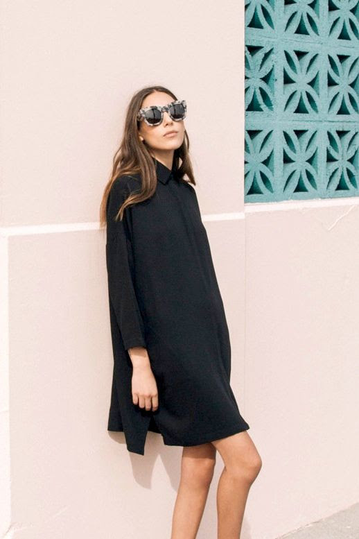 Le Fashion Blog Easy Style Look Oversized Statement Sunglasses Illesteva Tortoise Hamilton Black Shirtdress Long Sombre Hair Pink Wall Via The Dreslyn