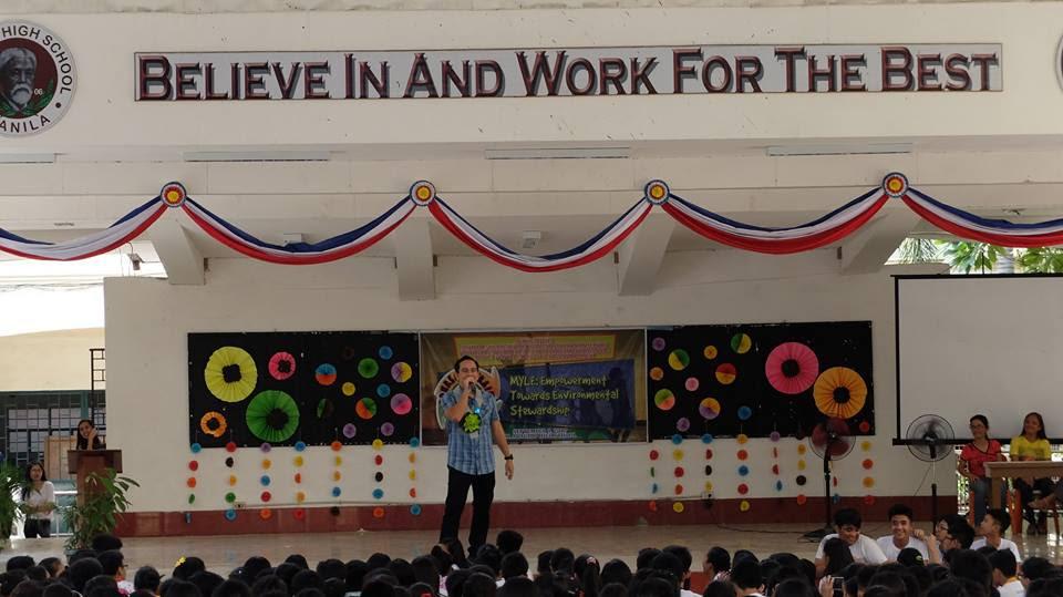 Filipino motivational speaker inspires grade 9 and 10 students towards environmental stewardship