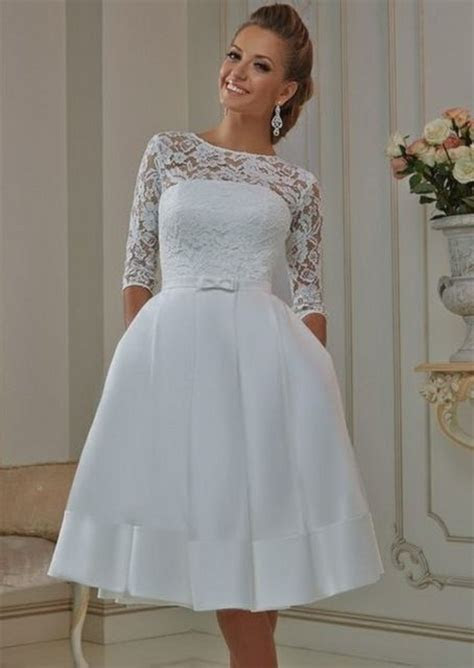Cheap White Ivory Sheer Lace Short Wedding Dresses 2016