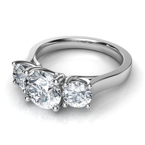 Three Stone Trellis Engagement Ring Natalie Diamonds