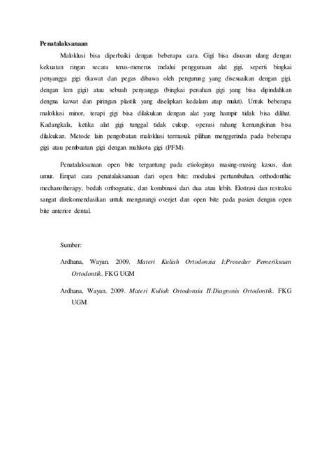 Asuhan keperawatan maloklusi - pemeriksaan dan penatalaksanaan