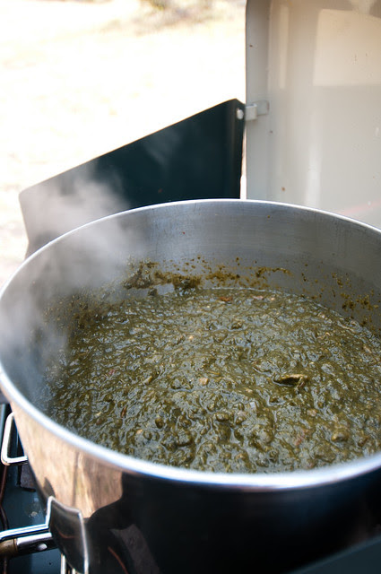 Sarson ka Saag on the Stove