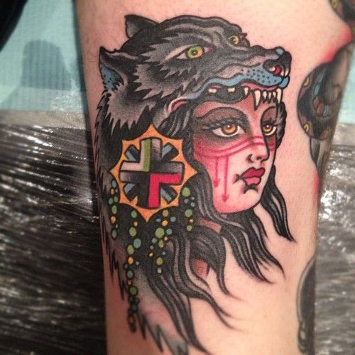 Pictures Of Traditional Girl Head Tattoo Wolf Kidskunstinfo