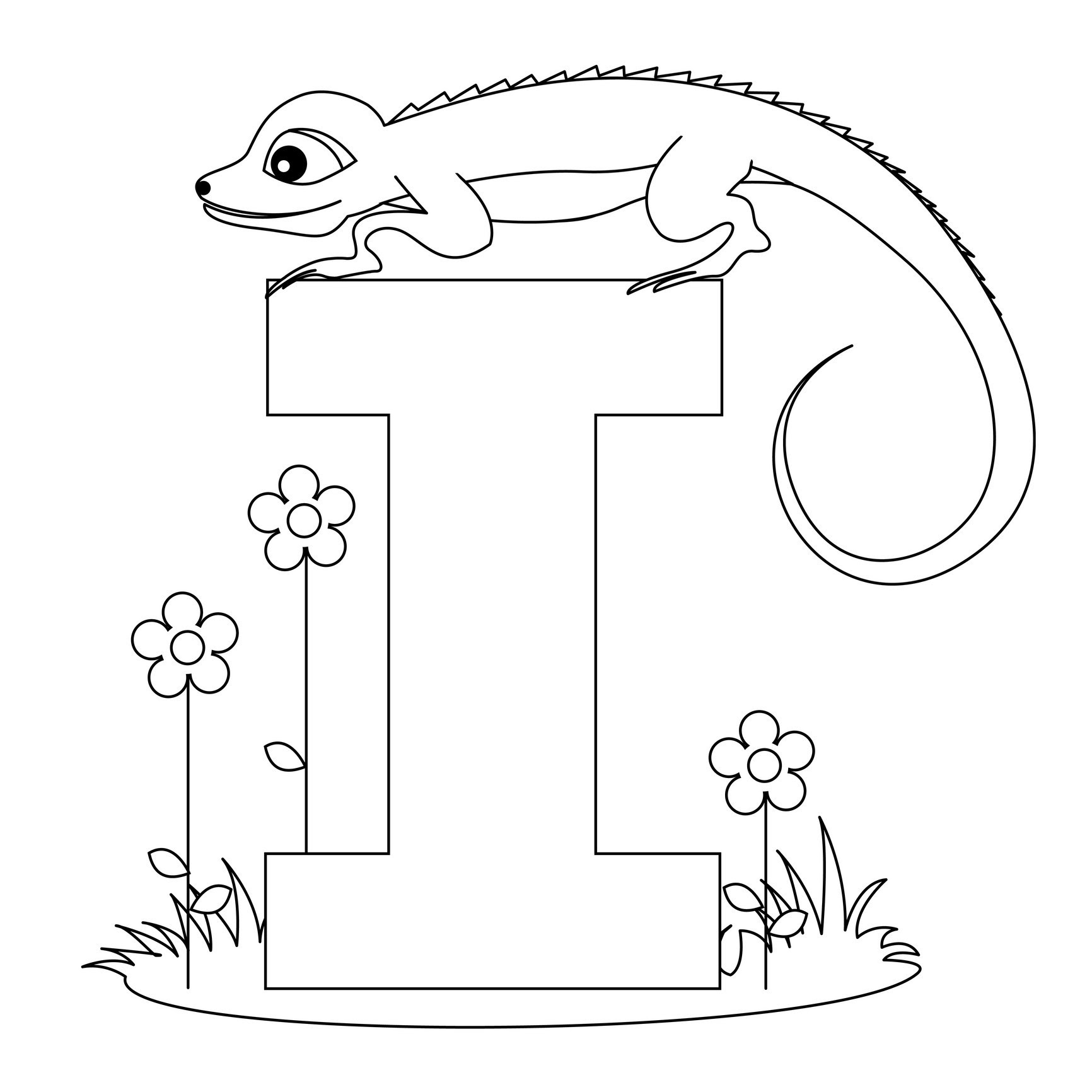 alphabet coloring pages Letter I