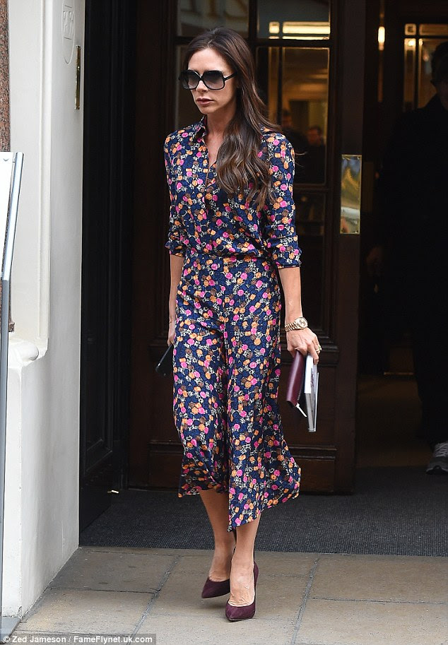 Big change: The 41-year-old is a huge fan of all-black and monochrome ensembles, so her look on Thursday was a delightful departure from the norm