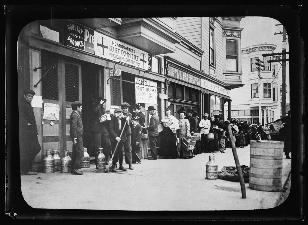 Earthquake, San Francisco. April 18, 1906. Food line at Relief Station run by the American Red Cross. Photo from American National Red Cross Collection, 18 April 1906. //hdl.loc.gov/loc.pnp/anrc.04175