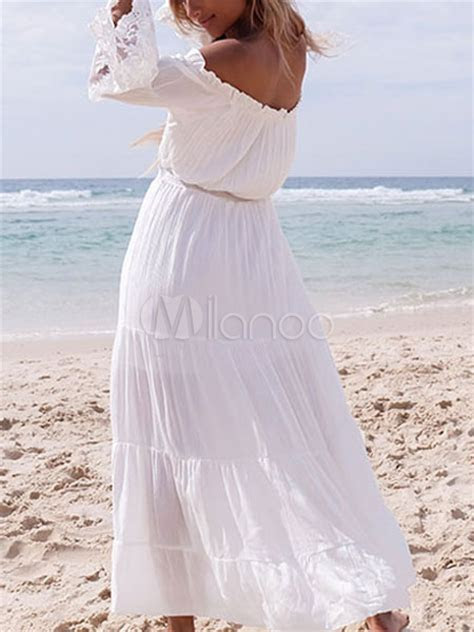 White Maxi Dress Chiffon Off The Shoulder Long Sleeve
