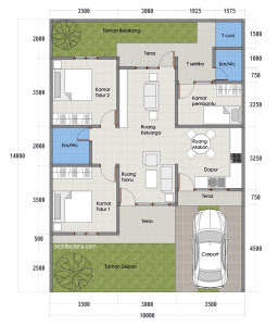 64 Gambar Desain Rumah 3 Kamar Tidur Type 70 Paling Keren Download