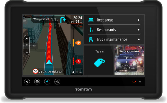 TomTom Bridge showing rear view camera interface
