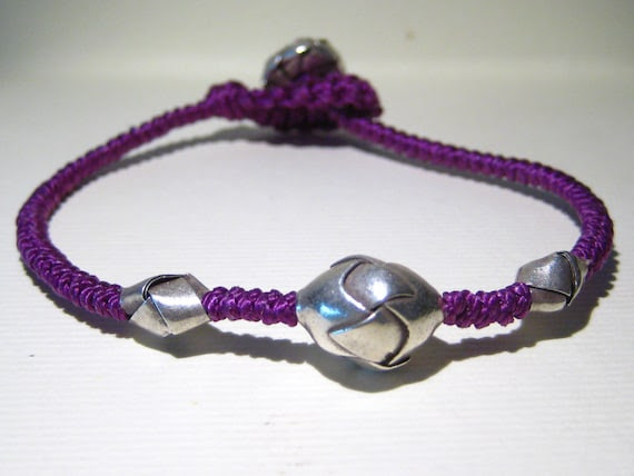knotted bracelet, with elements of Karen silver origami