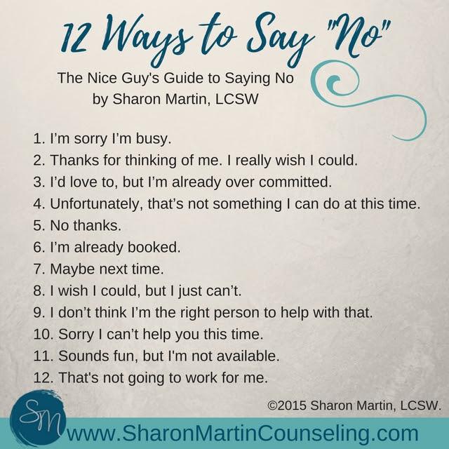 Nice Guys Guide To Saying No Sharon Martin Lcsw Counseling San