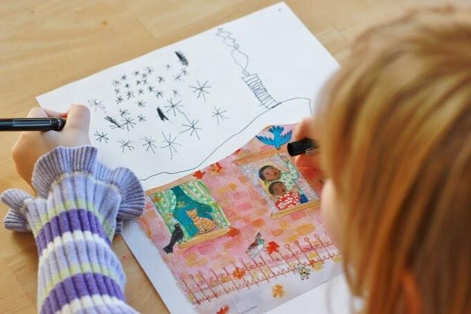 Magazine foto's als tekening vraagt voor kinderen