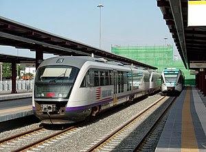 English: A Piraeus-Corinth train made of two D...