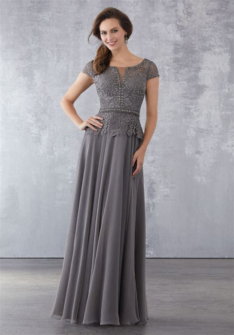 Chiffon Special Occasion Dress with Beaded Lace Bodice
