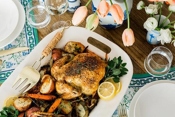 Lemon garlic roasted chicken recipe via Waiting on Martha