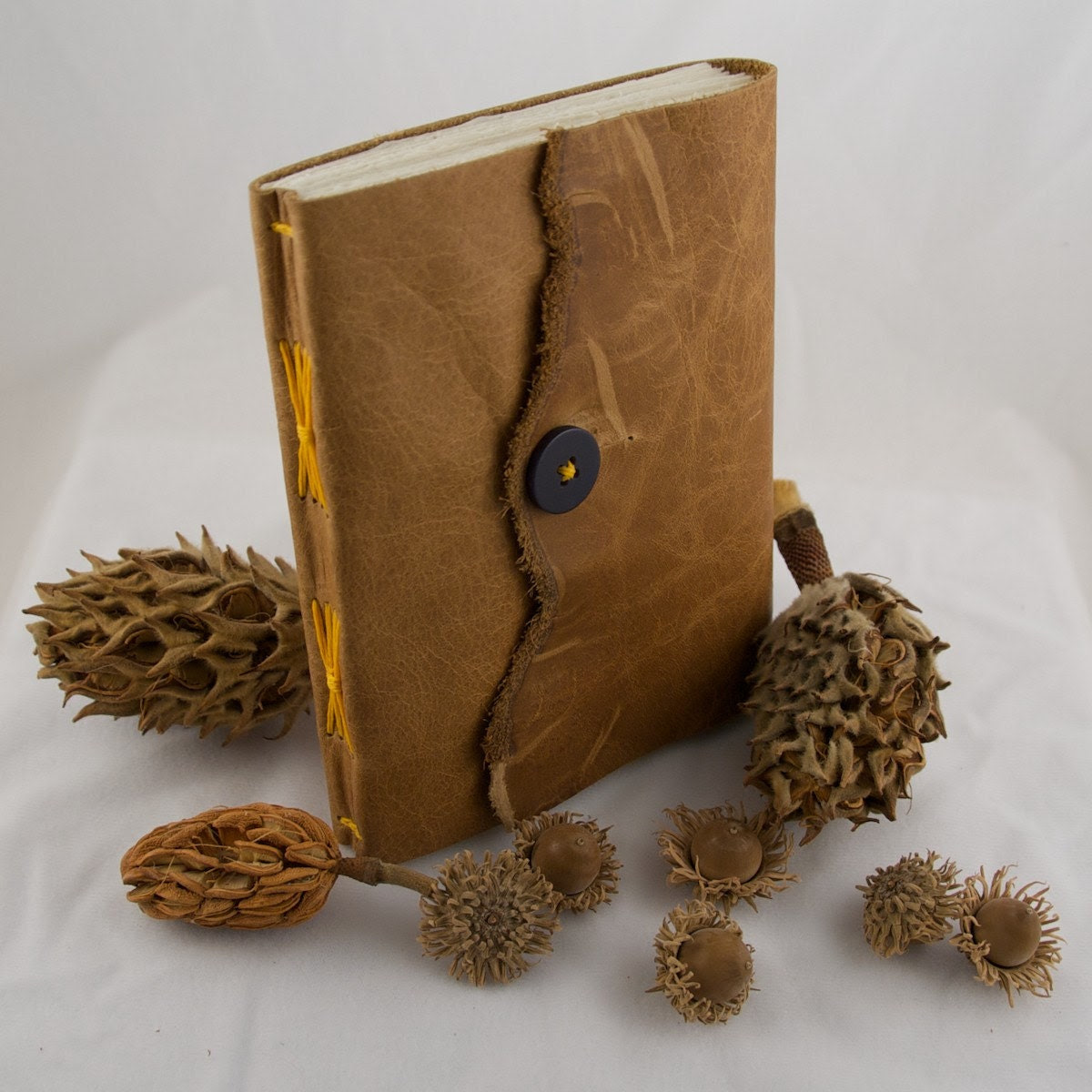 Softcover Golden Brown Leather Sketchbook or Journal with Bright Autumn Yellow Thread and Vintage Button - Edition 117