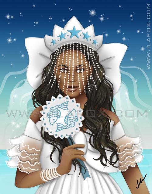 ilustração iemanjá, rainha do mar, by ila fox