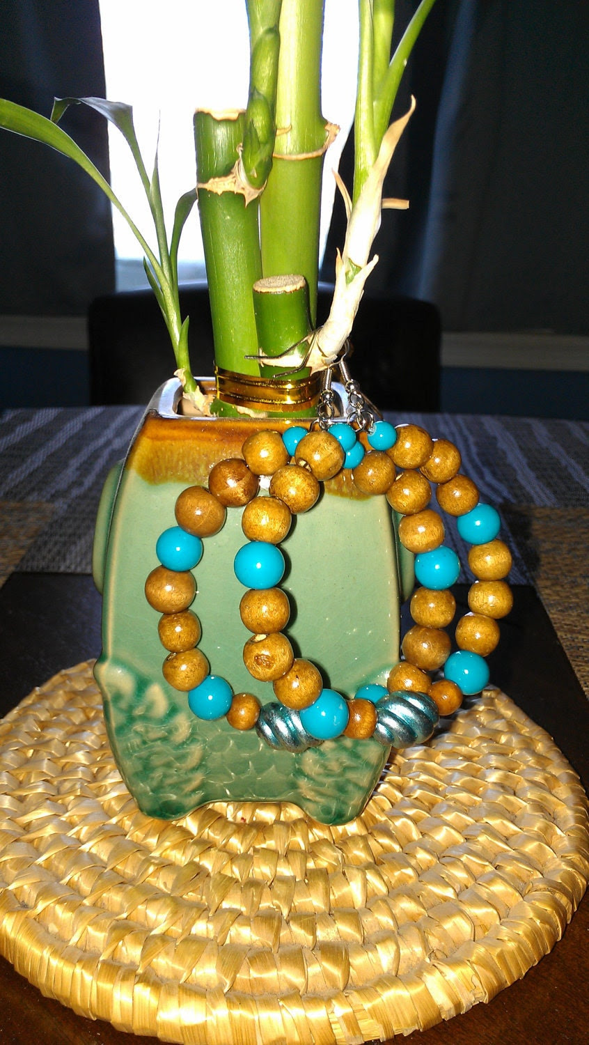 "Turquoise and Brown Wooden Beaded Hoop Earrings: ""Southwest Charm"""