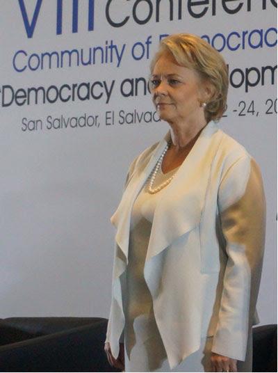Bà Maria Lessner tại Hội nghị cấp Bộ trưởng lần thứ VIII của Cộng đồng các Quốc gia Dân chủ họp tại thủ đô San Salvador từ ngày 21 tới ngày 24 tháng 7. RFA PHOTO/Ỷ Lan