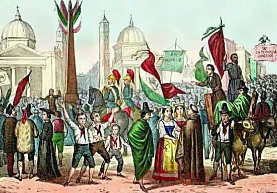 Ficheiro:Rossetti - Proclamazione della Repubblica Romana, nel 1849, in Piazza del Popolo - 1861.jpg