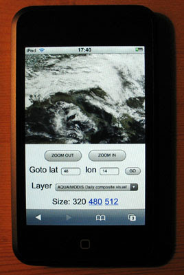Blue Marble Next Generation on iPod Touch