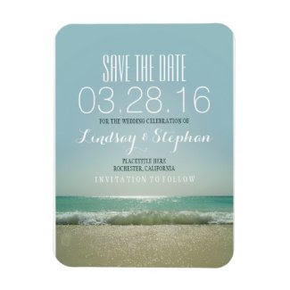 Modern Beach Wedding Save The Date Rectangular Photo Magnet