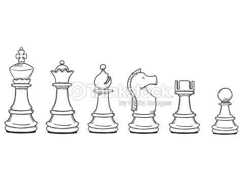 Vector Conjunto De Piezas De Ajedrez Dibujo Negro De Peón A Rey Arte