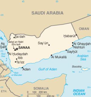 Map of Yemen, Saudi Arabia being north of it