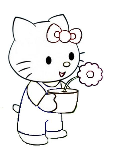 Coloriage A Imprimer Hello Kitty Tient Un Pot De Fleur Gratuit Et