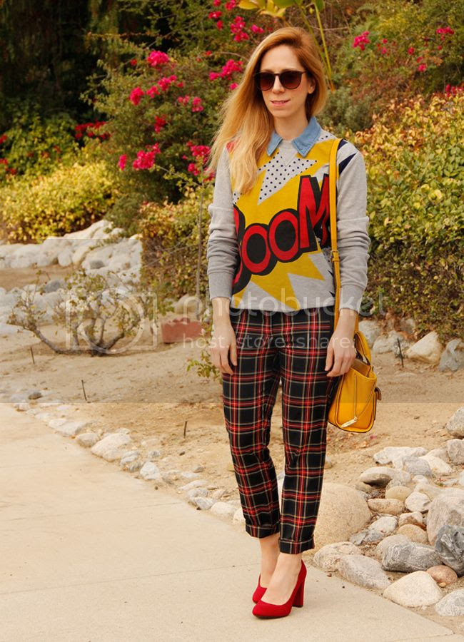 LA fashion blogger The Key To Chic wears a Phillip Lim for Target Boom sweatshirt and yellow mini satchel with Joe Fresh plaid trousers and Merona Meg pumps