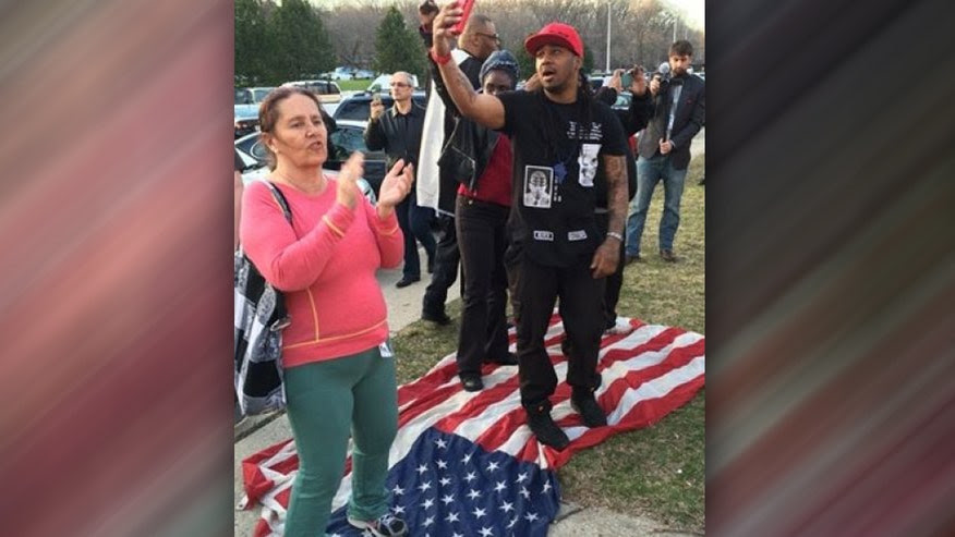 Image result for Hillary supporters burn US flag after Trump wins presidency