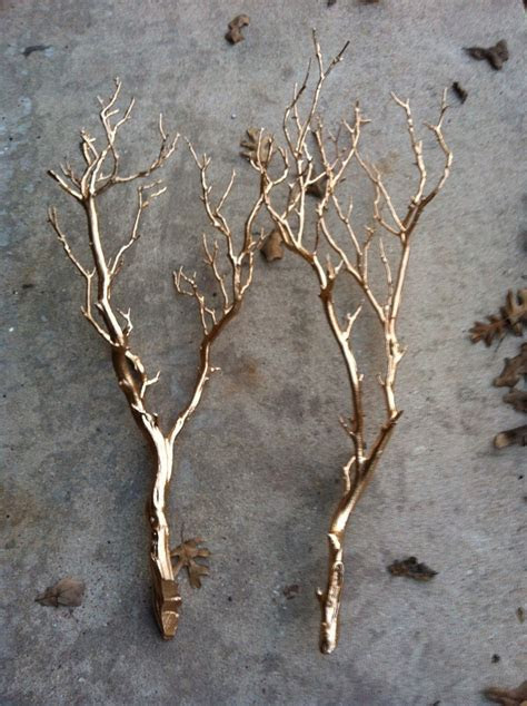Spray paint tree branches in silver or gold and set in