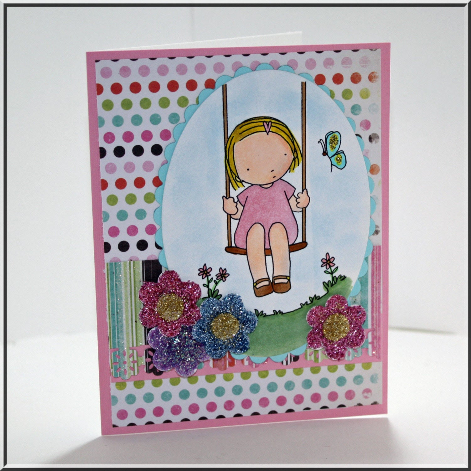 Swingin' by handmade greeting card with glitter flowers all occasion