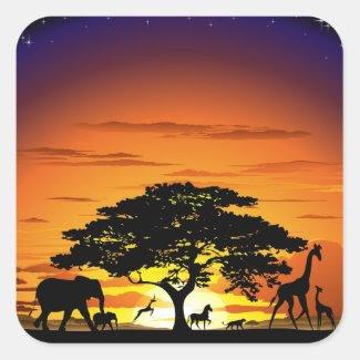 Wild Animals on Savannah Sunset Sticker