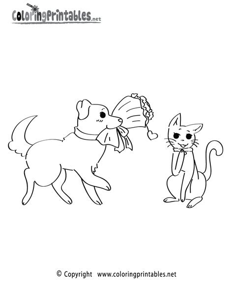 valentines dog cat coloring page   holiday