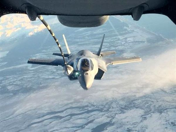 An F-35B Lightning II undergoes aerial refueling on its way to Alaska on January 9, 2017...with its final destination being Iwakuni, Japan.