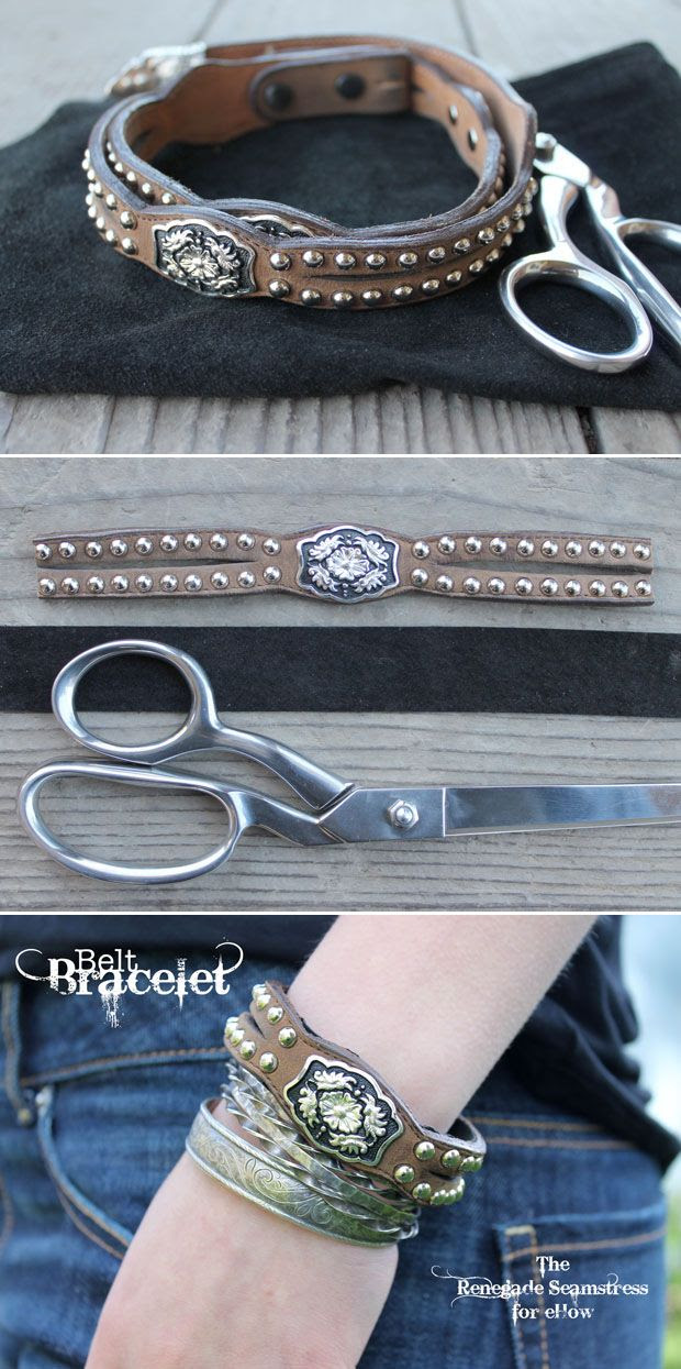 Create a Western-inspired Bracelet from a Thrifted Belt for a Fun Easy DIY Project