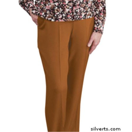 Silverts 130903204 Womens Elastic Waist Pants 2 Pockets - Ladies Pull On Pants - 14, Coffee