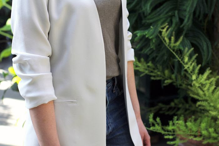 Eileen Fisher Silk White Jacket Neutral Tee Spring Style Tower Hill Botanical Garden Le Fashion Blog