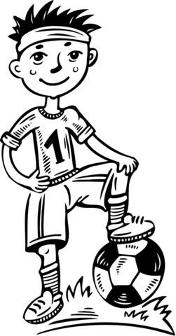 Dibujo De Niño Pequeño Jugador De Fútbol Para Colorear Dibujos