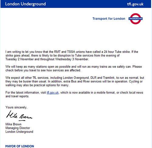 Tube Strike email TfL - November 2010