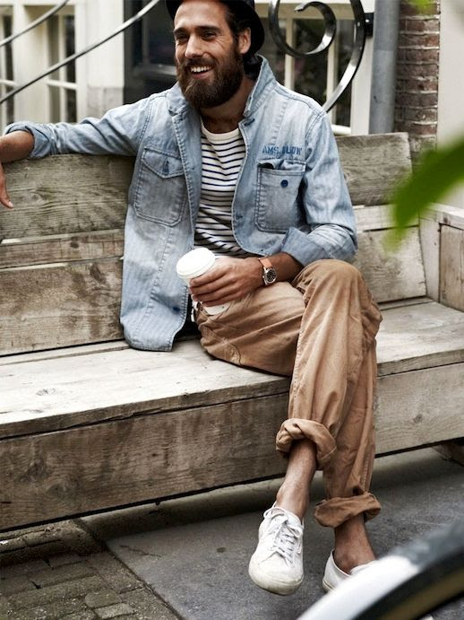 25 Stylish Hot Guys In Stripes -- Christian Goran -- Denim Shirt, Khakis and Sneakers -- Mens Style -- Via Rarespecimen photo 9-25-Stylish-Hot-Guys-In-Stripes-Christian-Goran-Denim-Shirt-Khakis-Sneakers-Mens-Style-Via-Rarespecimen.jpg