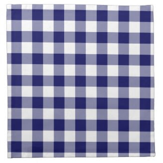 Navy and White Gingham Pattern Cloth Napkins